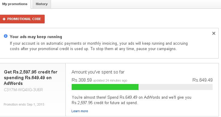 Google Adwords Coupon India